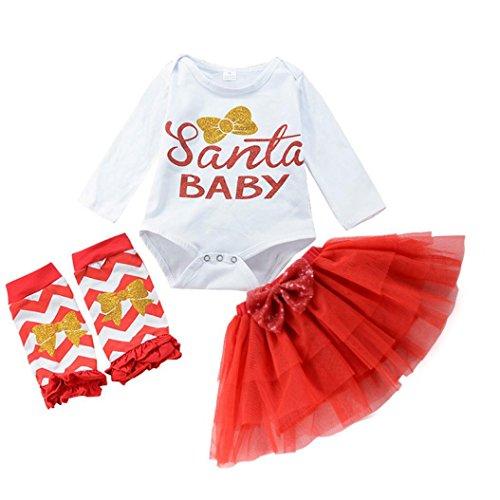 OverDose 3 STÜCKE Neugeborenen Gril Brief Weihnachten Strampler Tops + Tutu Gaze Rock + Socken Outfits Kleidung Set(6-12 Monate,A-Weiß) (Kleidung Grils)