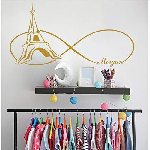Für Mädchen Wandtattoos Paris Themed Schlafzimmer Wandaufkleber Personalisierte Aufkleber Mädchen Name Wall Decor Tower Decal 82 X 42 Cm ()