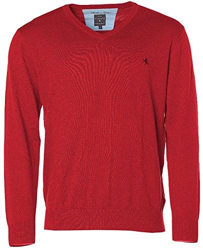 Kitaro Herren V-Ausschnitt Strick Pullover Brillant Cotton True Red