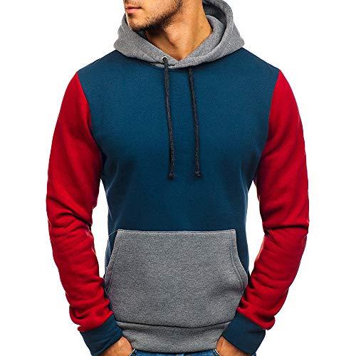 Baumwoll Point-kragen Bluse (Herren Kapuzenpullover,FRIENDGG Wie Man Hübsch ist? Männer Junge Mode Patchwork Langarm Pullover Stehen Kragen Mantel Lässige Pullover Outwear Sweatshirt Jacke Parka)