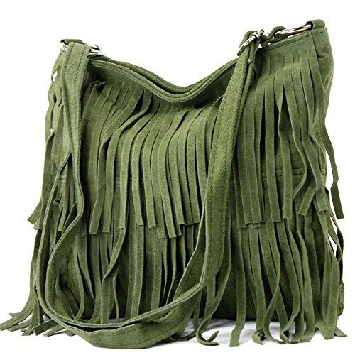 modamoda de - ital. Ledertasche Umhängetasche Fransentasche Schultertasche Wildleder T125, Präzise Farbe:Oliv (Handtasche Italienische)