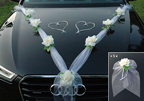 ORGANZA M + SCHLEIFE Auto Schmuck Braut Paar Rose Deko Dekoration Autoschmuck Hochzeit Car Auto Wedding Deko Ratan Girlande PKW … (Ecru Weiß H)