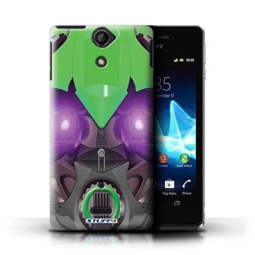 Kobalt® Imprimé Etui / Coque pour Sony Xperia V/LT25i / Opta-Bot Bleu conception / Série Robots Bumble-Bot Vert