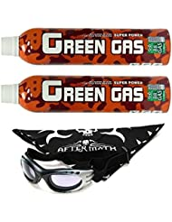 Pack 2 Botellas Green Gas 1100 ml para pistolas de airsoft que funcionan por gas + Gafas antivaho