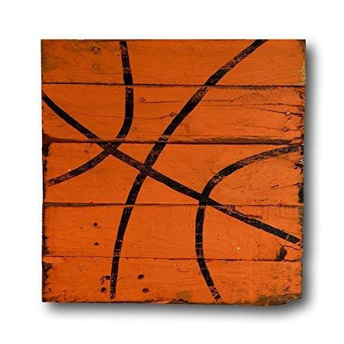 Bair89Pulla Basketball Schild Vintage Holz Sport Schild Jungen Schlafzimmer Dekor Vintage Basketball Dekor