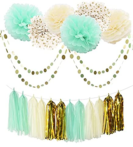 Furuix 20pcs Mint Green Cream Gold Party Decoration Kit Tissue Paper Pom Pom Flower with Paper Tassel Garland Circle Garland for Rustic Wedding Decoration Baby Shower Bridal Shower Decoration First Birthday Deco