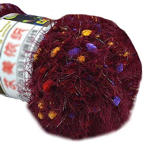 Lot de 3 tricotée Couleur Point Yarns Foulard tissées à la main doux velours Yarns, Vin rouge