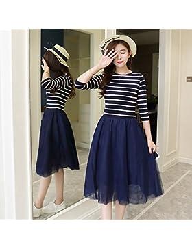 La versión coreana de los elegantes vestidos faldas de rayas finas gráficos,S,azul oscuro