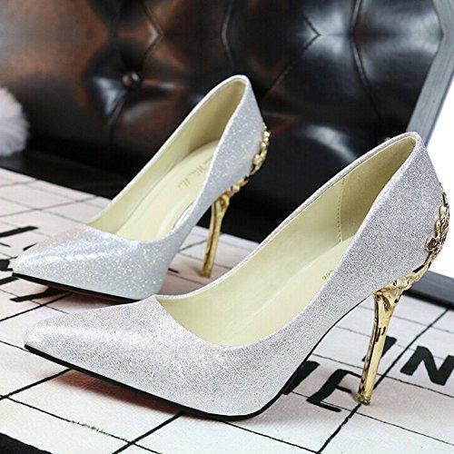 Chaussures à talon femme ,escarpin Sexy talon aiguille Chaussures de mariage bout pointu Argent