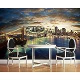 3D Murales Papel Pintado Pared Calcomanías Decoraciones Ciudad De Nueva York Puente De Brooklyn Vista Nocturna Atrás Salón Decoración Hotel Art º Chicas Habitación (W)250X(H)175Cm