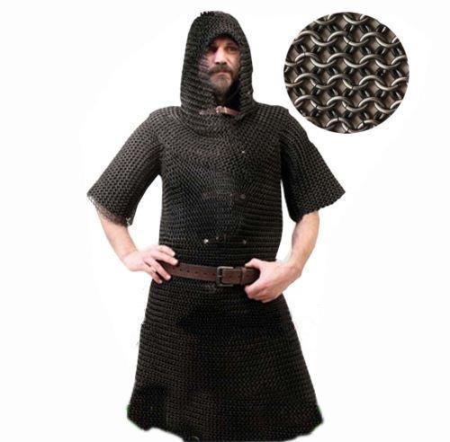 NASIR ALI konifizierte Kettengeflecht Hemd und Bundhaube Set XL Größe Baustahl Kette mail Kostüm Armor