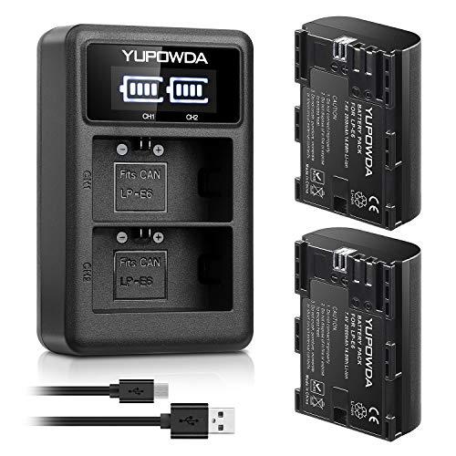 LP-E6 YUPOWDA Paquete batería reemplazo 2-Pack Cargador