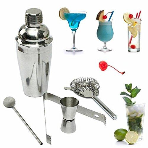 forepin Shaker à Cocktail Set Kit de Barman Cocktail Set Accessoires de Bar en Inox Professionnel 5 Pièces Shakers de 550ml,Cocktail Strainer,Cuillère à mélanger,Pince,Cocktail Tasse à Mesurer