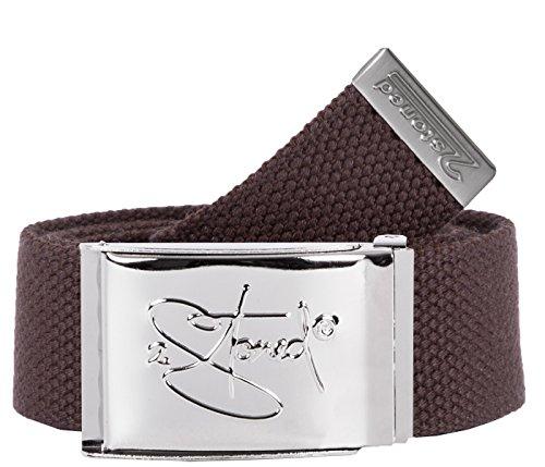 2Stoned Tresorgürtel Geldgürtel Braun 4 cm breit Chromschnalle Classic, Money Belt für Damen und Herren - Cotton Web Belt