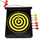 "Creing 17"" Magnetic Dartboard Sets 6 Reversible Darts Rolling Two Sided Bullseye Game"