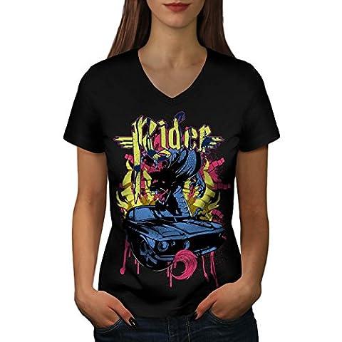 Cavalier Du sang sport Voiture Voiture Women M T-shirt à col en V | Wellcoda