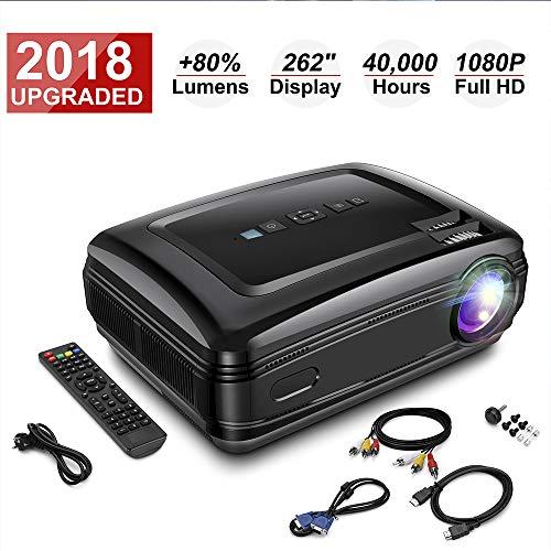 HD Beamer, Projektor 1080P 3200 Lumen mit HDMI USB VGA Fernbedienung SD Kard AV für Heimkino und Büro Unterstützung für PC/USB/VGA/HDMI/IOS/Android