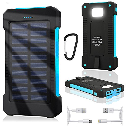 WATERPROOF Solar Power Bank Ladegerät 10000mAh microUSB Externe Akku iPhone Android IP65 Stoßfeste Staubdicht Tragbare Energienbank Handy-Ladegerät mit LED + 2x Kabel