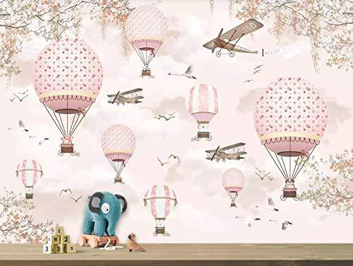 Wxlsl Große Benutzerdefinierte Tapete Wandbild Cartoon Heißluftballon Flugzeuge Rosa Himmel Handgemalte Kinderzimmer 3D Tapete-400Cmx280Cm