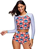 KamiraCoco Bikini Damen Stand Badeanzug Bademode Schwimmshirt Kurzarm UV Shirt Rash Guard Badeshirt UPF 50+ (XL (EUR 40-42), Gefärbt)