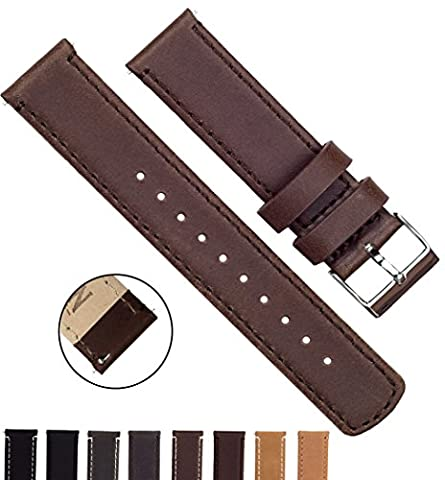 BARTON Quick Release Top Grain Leather Watch Straps - Choose Colour & Width (18mm, 20mm or 22mm) - Saddle Brown 22mm Watch