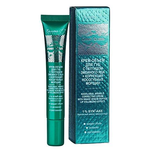 Green Snake auffüllende Anti-Aging Lippencreme zum Volumenaufbau und nasolabialer Faltenkorrektur 20g, mit Schlangengift-Peptid SYN-AKE, Hyaluronsäure, Vitamin E, Arganöl und Sheaöl