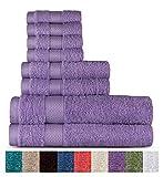 Welhome 100% algodón conjunto 8 pieza toalla (lila); 2 toallas de baño, 2 toallas de mano y 4 Estropajos, lavable a máquina