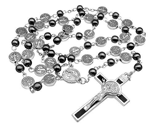 Zoom IMG-1 collana di rosario ematite cattolico