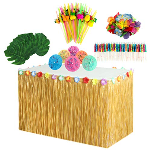 Amosfun 149pcs Hawaiian Party Tisch Rock Set withTable Monstera Blatt Papier Sonnenschirme Obst Stroh Hibiskus Blume - Hibiskus-blumen Papier