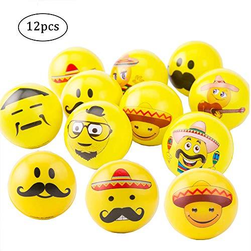 Anti-stress-gesicht (12 Stücke Emoji Stressbälle Bart Smiley Gesicht Mit Lustigem Gesicht Druckentlastung Erwachsenes Kind Anti-Stress Ball)