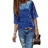 Damen Bluse IHRKleid® Frauen Strapless Pailletten beiläufige lose T-Shirt Tops Langarm weg von der Schulter Hemd Bluse (XL, Blau)