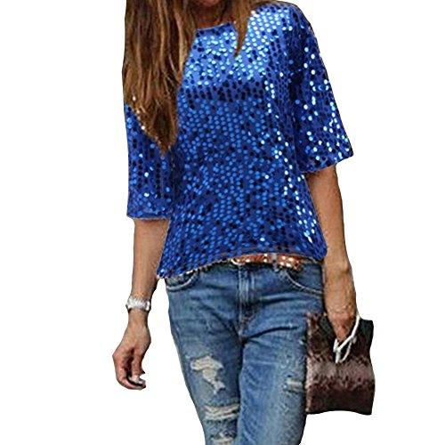 Damen Bluse IHRKleid® Frauen Strapless Pailletten beiläufige lose T-Shirt Tops Langarm weg von der Schulter Hemd Bluse (XXL, Blau) (Mini-spandex-leggings)