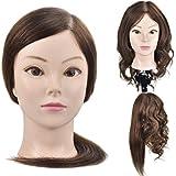 Cabeza de maniquí para formación de peluquería y cosmética, busto con cabello humano 100 %,  45,7 cm, con abrazadera de fijación