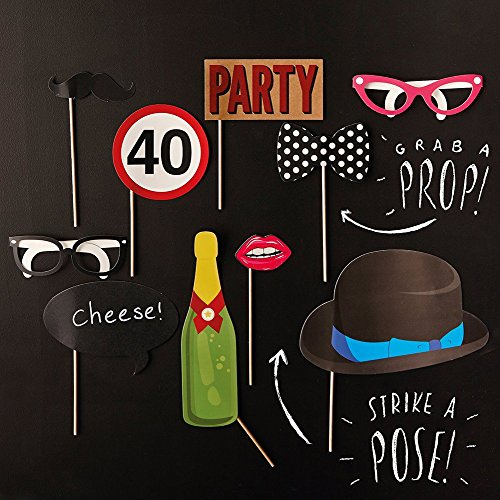 Rzctukltd 10PCS 40th Birthday Party Photo Booth Props Favours Moustache on A Stick Photography