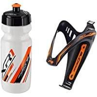 Raceone.it - KIT Race Duo X3 FLuo (2 PCS): 2 Porta Bidon X3 + Bidon de ciclismo XR1 Bici Carrera de Ruta / Bicicleta de Montaña MTB / Gravel Bike. Color: Naranja / Blanco 100% MADE IN ITALY