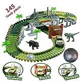 Dinosaurier Spielzeug Autorennbahn Spiel Kit mit 144 Stück Jurassic Dino Welt Flexible Track Auto Spielset für Weihnachten & Geburtstagsgeschenk für Kinder ab 3 Jahren