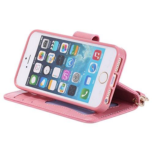 UKDANDANWEI Apple iPhone 5s Hülle Case, Nacht-Leuchtende Schutzhülle Frau Katze Muster Hülle mit Kartenfächer und Magnetverschluss für Apple iPhone 5s - Roségold Rosa