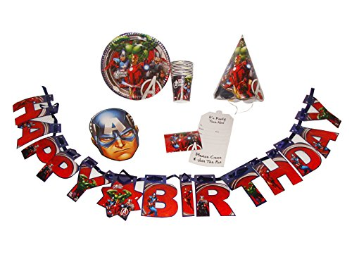 Avengers Marvel theme birthday party kit, Party Supplies for Avengers Super Hero Theme (PACK OF 51 PCS)