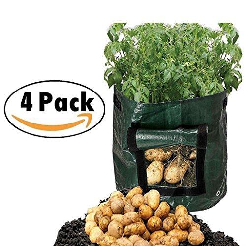 Or en forme de poire 7 Gallon en pleine Croissance Sacs avec poignées à rabat Jardin Heavy Duty Sacs de plantation pour les légumes de pommes de terre Carotte d'oignon tomates 13.7x 13.3 inch / 35 x 34 cm Green