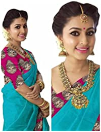 Art Décor Sarees Women's Sky Blue Color Chanderi Printed Saree With Blouse