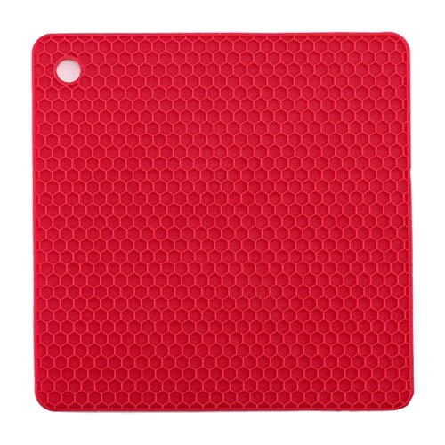 WANG Silicone 4 in 1 Multipurpose Honeycomb Pot Holders Coaster Thicken Square Non-Slip Mat Trivets Jar Openers Spoon,Red -