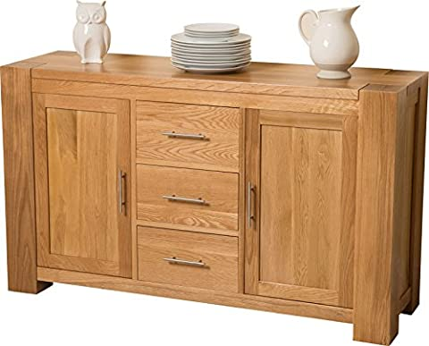 Hermosa Kensington Solid Sideboard with Clear Lacquer Finish, Natural Oak,
