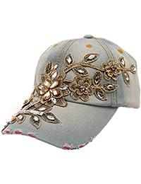 Frauen Denim Hut DDLBiz® Frauen Diamant-Blumen-Baseball-Mütze Summer Style Lady Jeans Mützen