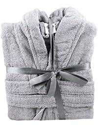 100% Cotton Terry Towelling Shawl Collar Bathrobe + Matching Belt - Light Grey