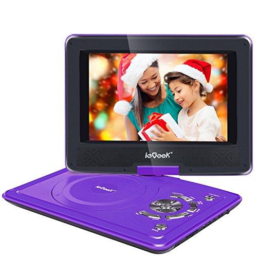 """ieGeek- 12.5"""" reproductor de DVD MP3 CD multimedia portátil de vídeo (2500mAh batería interna, USB, SD) con cargador de coche y joystick de juego, púrpura"""
