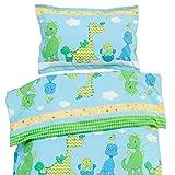 Les Dinosaures joyeux - Pati'Chou 100% Coton Linge de lit pour bébé (Taie d'oreiller et Housse de couette 100x140 cm)
