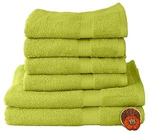 6 tlg. Handtuchset in APFELGRÜN, 4 Handtücher 50x100cm / 2 Duschtücher 70x140cm , 100% Baumwolle 500g/m²