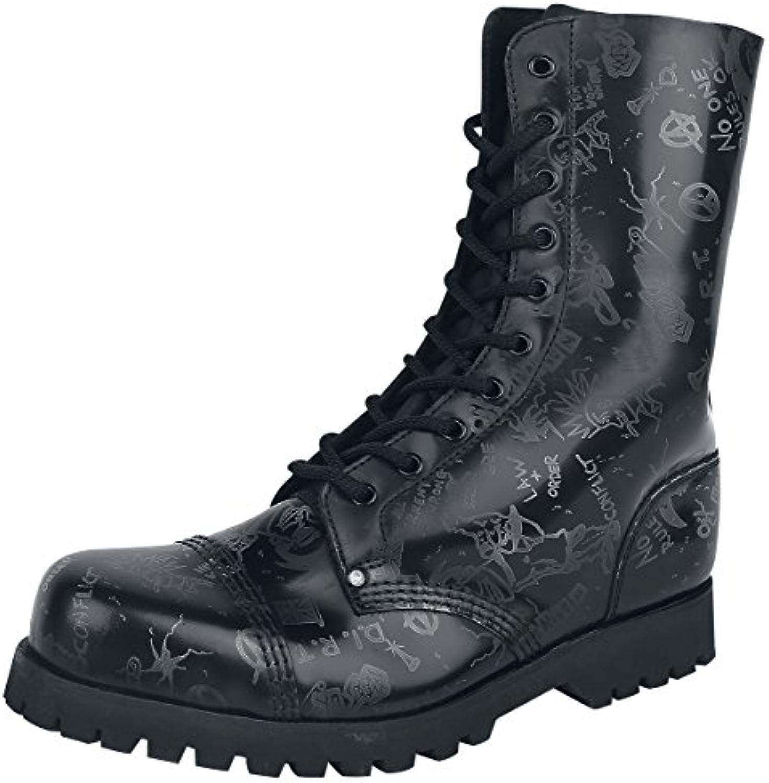 Steelground Shoes Punk/Anarchy Boot Stiefel Schwarz