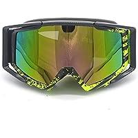 Evomosa Adulte Motocross Moto ATV Off-road Lunettes de soleil de lunettes de snowboard/ski casque de vélos anti UV (Coloré objectif: Noir + Jaune fluo) WvYHgm