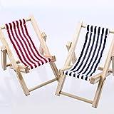 Liegestühle aus Holz - blau-weiß/rot-weiß - 9x15cm - 10 Stück - 77944